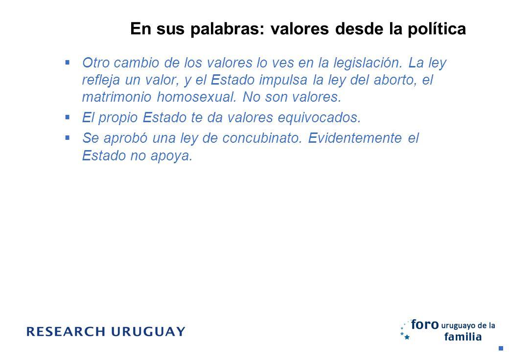 En sus palabras: valores desde la política Otro cambio de los valores lo ves en la legislación. La ley refleja un valor, y el Estado impulsa la ley de