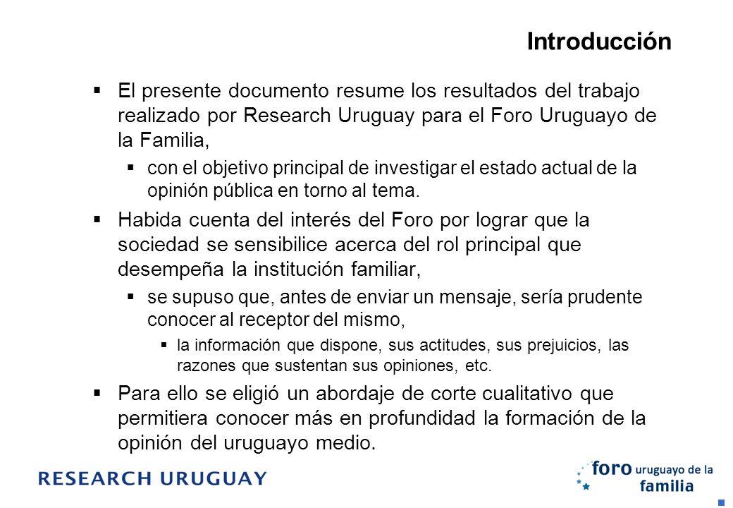 Introducción El presente documento resume los resultados del trabajo realizado por Research Uruguay para el Foro Uruguayo de la Familia, con el objeti