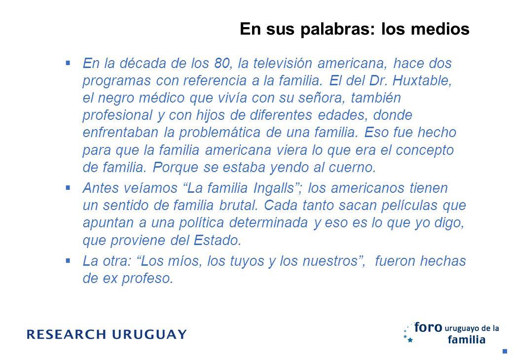 En sus palabras: los medios En la década de los 80, la televisión americana, hace dos programas con referencia a la familia. El del Dr. Huxtable, el n