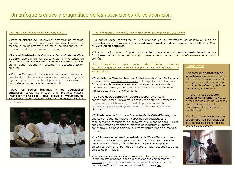 Una asociación que alía eficazmente agentes complementarios del sector público, el sector privado y la sociedad civil El distrito de Treichville (colectividad local de Côte dIvoire) es el representante institucional y político del proyecto en el plano local.