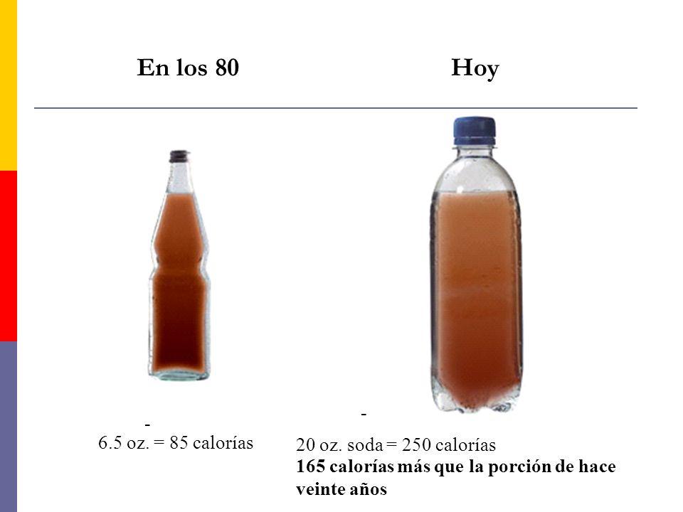 En los 80 Hoy 6.5 oz. = 85 calorías - 20 oz. soda = 250 calorías - 165 calorías más que la porción de hace veinte años