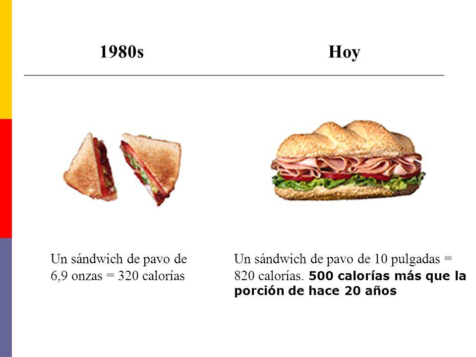 1980sHoy Un sándwich de pavo de 6,9 onzas = 320 calorías Un sándwich de pavo de 10 pulgadas = 820 calorías. 500 calorías más que la porción de hace 20
