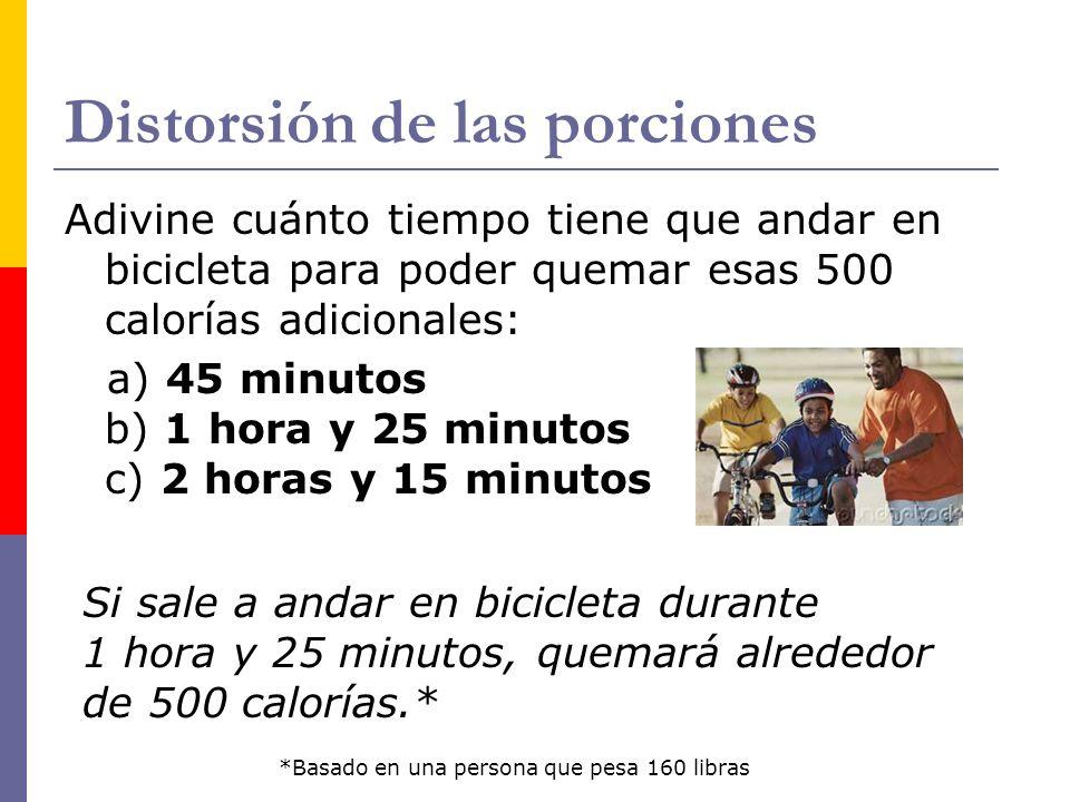Distorsión de las porciones Adivine cuánto tiempo tiene que andar en bicicleta para poder quemar esas 500 calorías adicionales: a) 45 minutos b) 1 hora y 25 minutos c) 2 horas y 15 minutos Si sale a andar en bicicleta durante 1 hora y 25 minutos, quemará alrededor de 500 calorías.* *Basado en una persona que pesa 160 libras