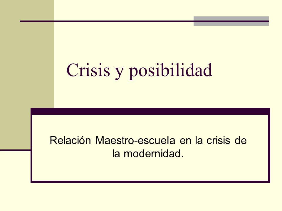 Crisis y posibilidad Relación Maestro-escuela en la crisis de la modernidad.