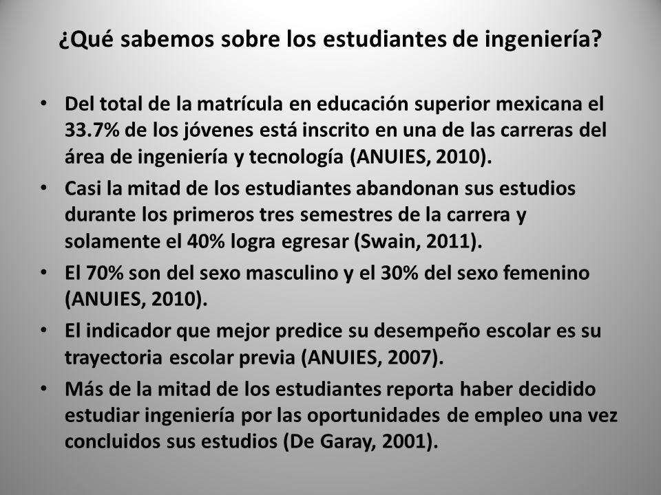 Algo más sobre los estudiantes de ingeniería Tienen sólidos referentes profesionales identitarios (Marín, 2007).