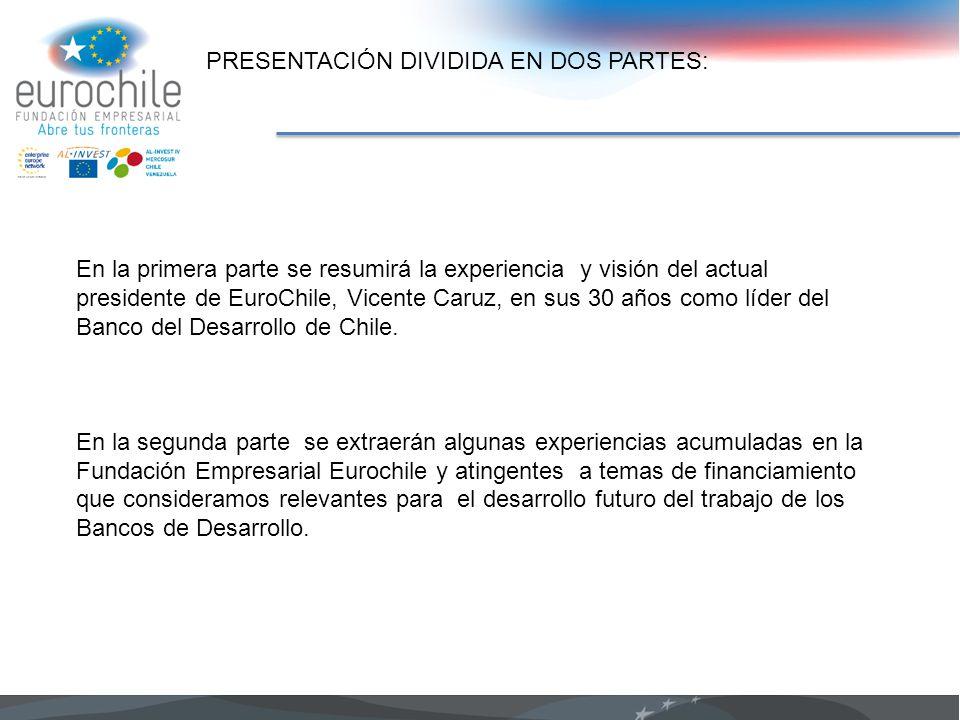 PRESENTACIÓN DIVIDIDA EN DOS PARTES: En la primera parte se resumirá la experiencia y visión del actual presidente de EuroChile, Vicente Caruz, en sus