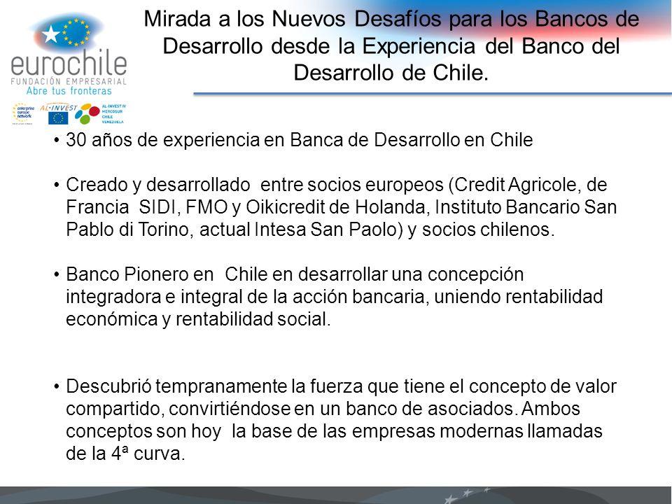 Mirada a los Nuevos Desafíos para los Bancos de Desarrollo desde la Experiencia del Banco del Desarrollo de Chile. 30 años de experiencia en Banca de