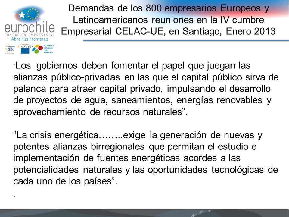 Demandas de los 800 empresarios Europeos y Latinoamericanos reuniones en la IV cumbre Empresarial CELAC-UE, en Santiago, Enero 2013 Los gobiernos debe