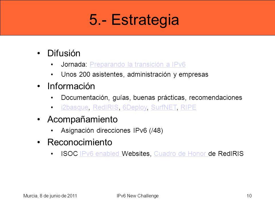 5.- Estrategia Difusión Jornada: Preparando la transición a IPv6Preparando la transición a IPv6 Unos 200 asistentes, administración y empresas Información Documentación, guías, buenas prácticas, recomendaciones i2basque, RedIRIS, 6Deploy, SurfNET, RIPEi2basqueRedIRIS6DeploySurfNETRIPE Acompañamiento Asignación direcciones IPv6 (/48) Reconocimiento ISOC IPv6 enabled Websites, Cuadro de Honor de RedIRISIPv6 enabled Cuadro de Honor Murcia, 8 de junio de 201110IPv6 New Challenge