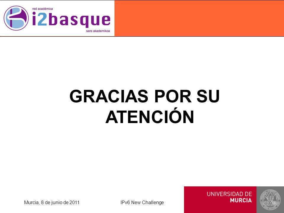 GRACIAS POR SU ATENCIÓN Murcia, 8 de junio de 2011IPv6 New Challenge