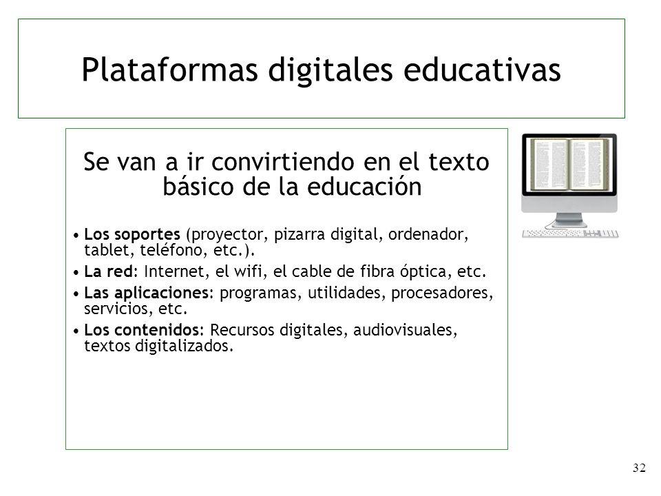 32 Se van a ir convirtiendo en el texto básico de la educación Los soportes (proyector, pizarra digital, ordenador, tablet, teléfono, etc.). La red: I