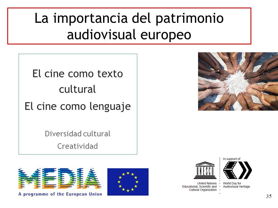 35 El cine como texto cultural El cine como lenguaje Diversidad cultural Creatividad La importancia del patrimonio audiovisual europeo