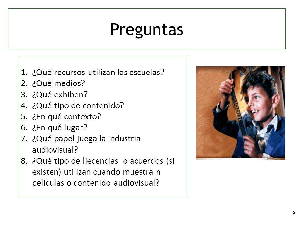 9 1.¿Qué recursos utilizan las escuelas? 2.¿Qué medios? 3.¿Qué exhiben? 4.¿Qué tipo de contenido? 5.¿En qué contexto? 6.¿En qué lugar? 7.¿Qué papel ju