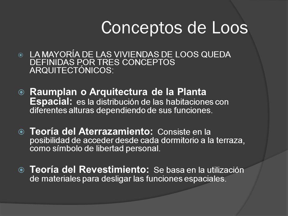 Conceptos de Loos LA MAYORÍA DE LAS VIVIENDAS DE LOOS QUEDA DEFINIDAS POR TRES CONCEPTOS ARQUITECTÓNICOS: Raumplan o Arquitectura de la Planta Espacia