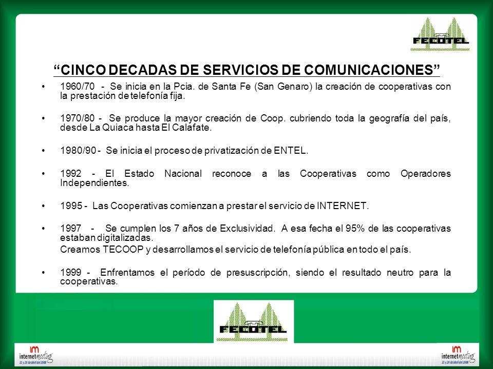 CINCO DECADAS DE SERVICIOS DE COMUNICACIONES 1960/70 - Se inicia en la Pcia. de Santa Fe (San Genaro) la creación de cooperativas con la prestación de