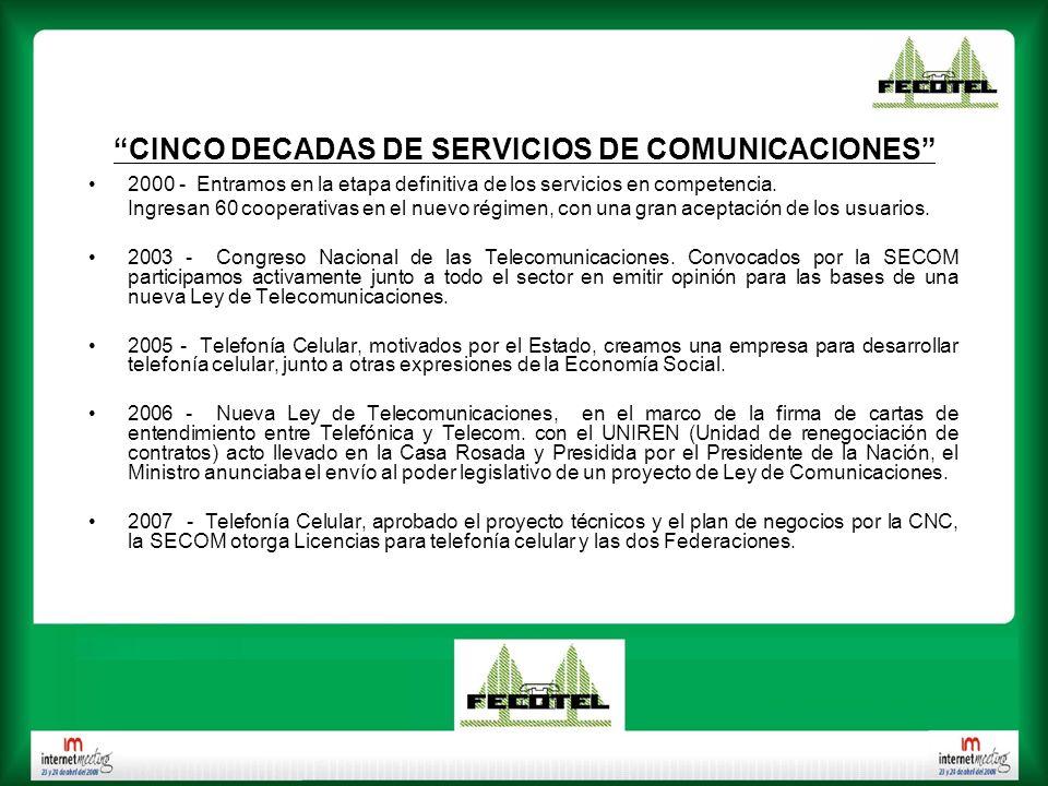 CINCO DECADAS DE SERVICIOS DE COMUNICACIONES 2000 - Entramos en la etapa definitiva de los servicios en competencia. Ingresan 60 cooperativas en el nu