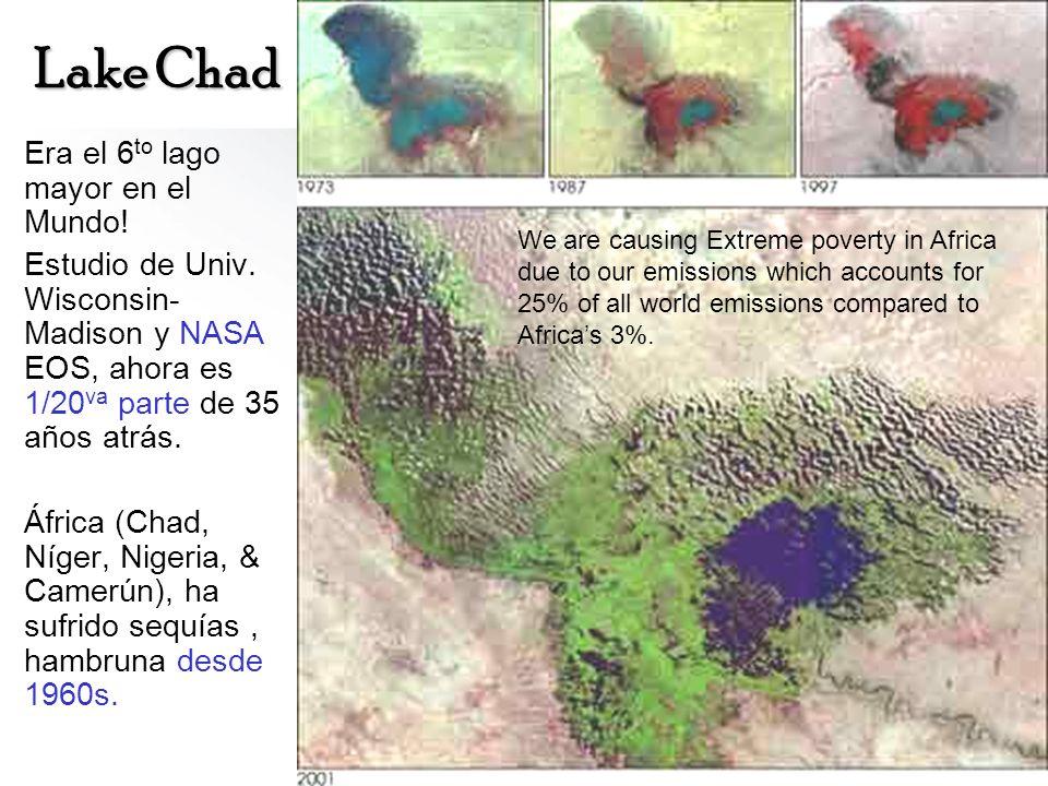 Lake Chad Era el 6 to lago mayor en el Mundo! Estudio de Univ. Wisconsin- Madison y NASA EOS, ahora es 1/20 va parte de 35 años atrás. África (Chad, N