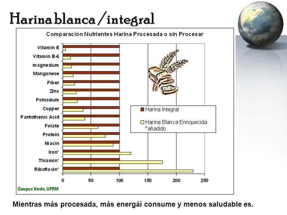 Harina blanca /integral Mientras más procesada, más energáí consume y menos saludable es.