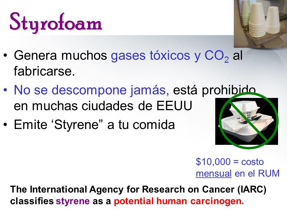 Styrofoam Genera muchos gases tóxicos y CO 2 al fabricarse. No se descompone jamás, está prohibido en muchas ciudades de EEUU Emite Styrene a tu comid