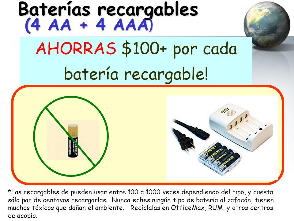 Baterías recargables (4 AA + 4 AAA ) AHORRAS $100+ por cada batería recargable! * *Las recargables de pueden usar entre 100 a 1000 veces dependiendo d
