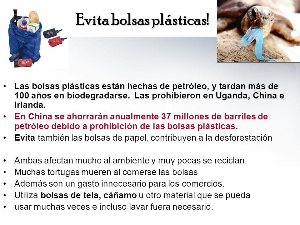 Evita bolsas plásticas! Las bolsas plásticas están hechas de petróleo, y tardan más de 100 años en biodegradarse. Las prohibieron en Uganda, China e I