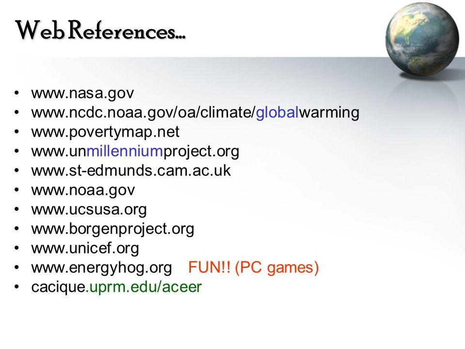 Web References… www.nasa.gov www.ncdc.noaa.gov/oa/climate/globalwarming www.povertymap.net www.unmillenniumproject.org www.st-edmunds.cam.ac.uk www.no