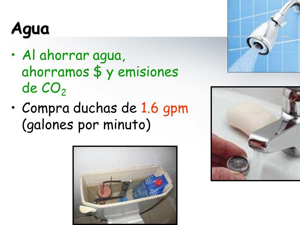 Agua Al ahorrar agua, ahorramos $ y emisiones de CO 2 Compra duchas de 1.6 gpm (galones por minuto)