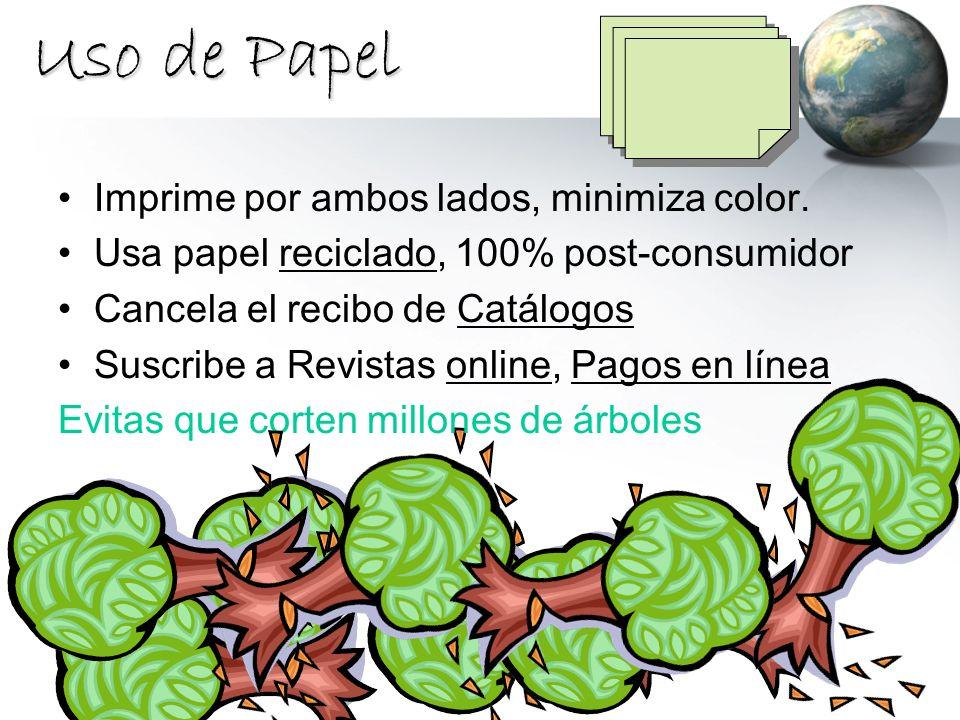 Uso de Papel Imprime por ambos lados, minimiza color. Usa papel reciclado, 100% post-consumidor Cancela el recibo de Catálogos Suscribe a Revistas onl