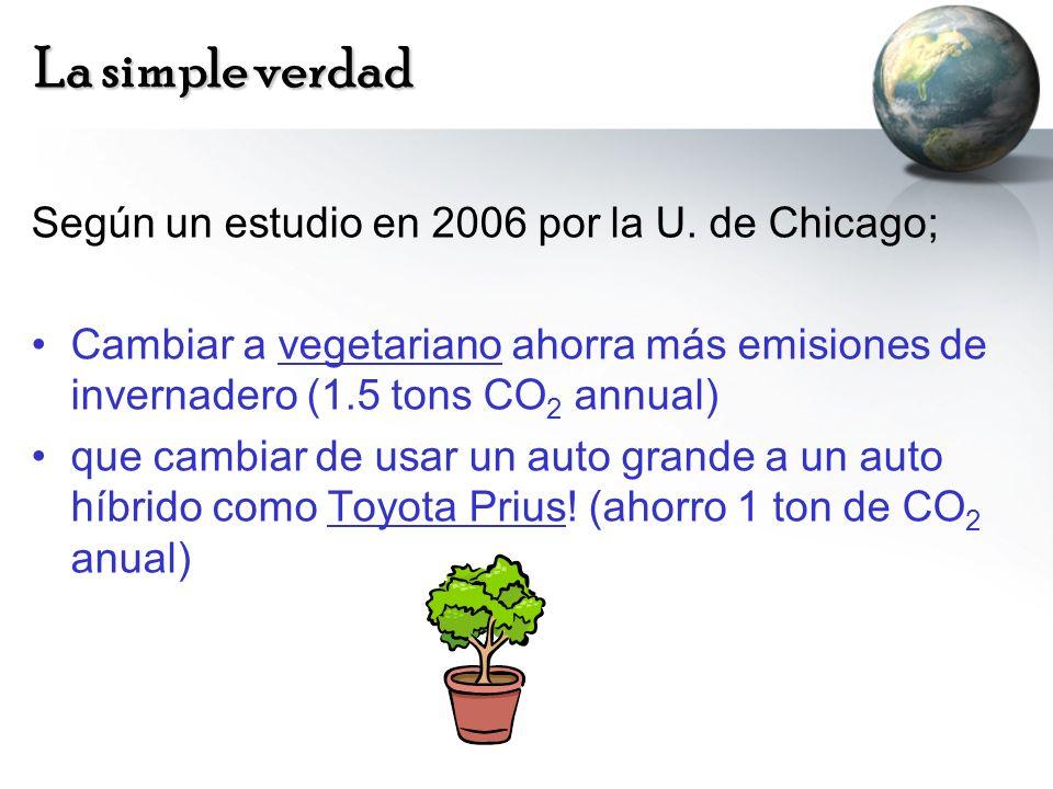 La simple verdad Según un estudio en 2006 por la U. de Chicago; Cambiar a vegetariano ahorra más emisiones de invernadero (1.5 tons CO 2 annual) que c