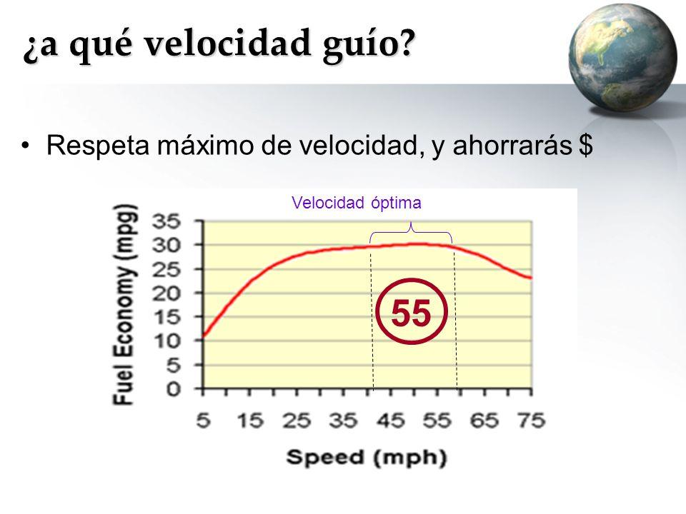 ¿a qué velocidad guío? Respeta máximo de velocidad, y ahorrarás $ Velocidad óptima 55