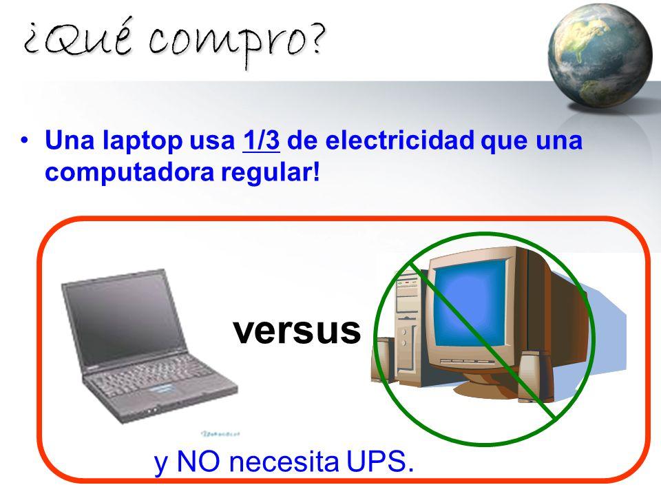 ¿Qué compro? Una laptop usa 1/3 de electricidad que una computadora regular! versus y NO necesita UPS.