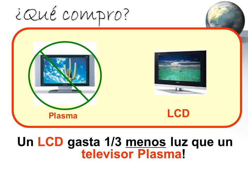 ¿Qué compro? Un LCD gasta 1/3 menos luz que un televisor Plasma! LCD Plasma