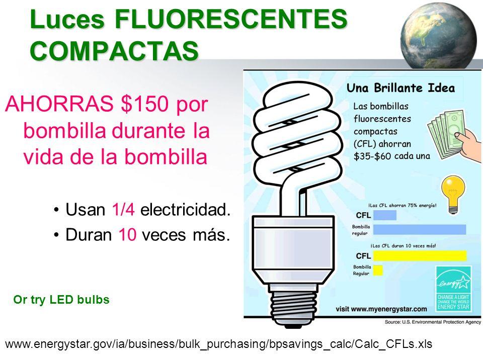 Luces FLUORESCENTES COMPACTAS AHORRAS $150 por bombilla durante la vida de la bombilla Usan 1/4 electricidad. Duran 10 veces más. www.energystar.gov/i