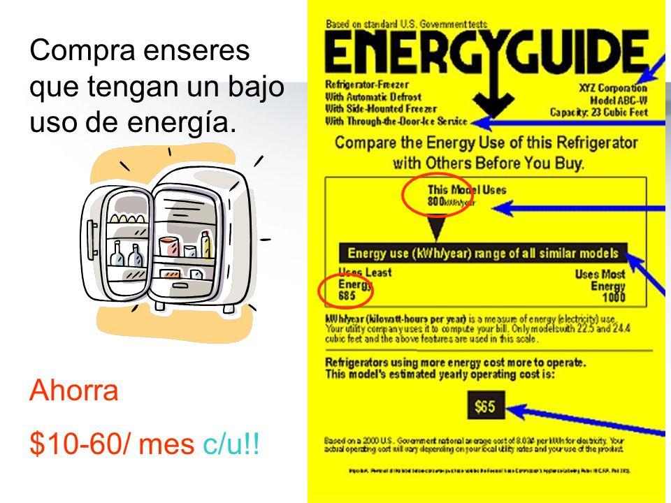 Compra enseres que tengan un bajo uso de energía. Ahorra $10-60/ mes c/u!!