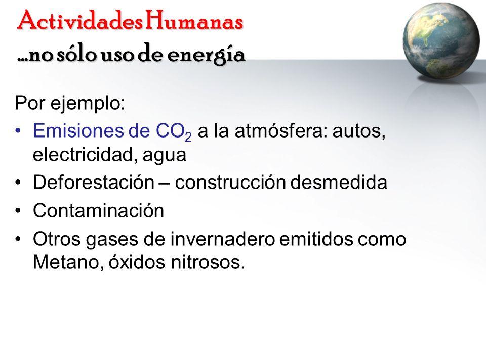 Actividades Humanas …no sólo uso de energía Por ejemplo: Emisiones de CO 2 a la atmósfera: autos, electricidad, agua Deforestación – construcción desm