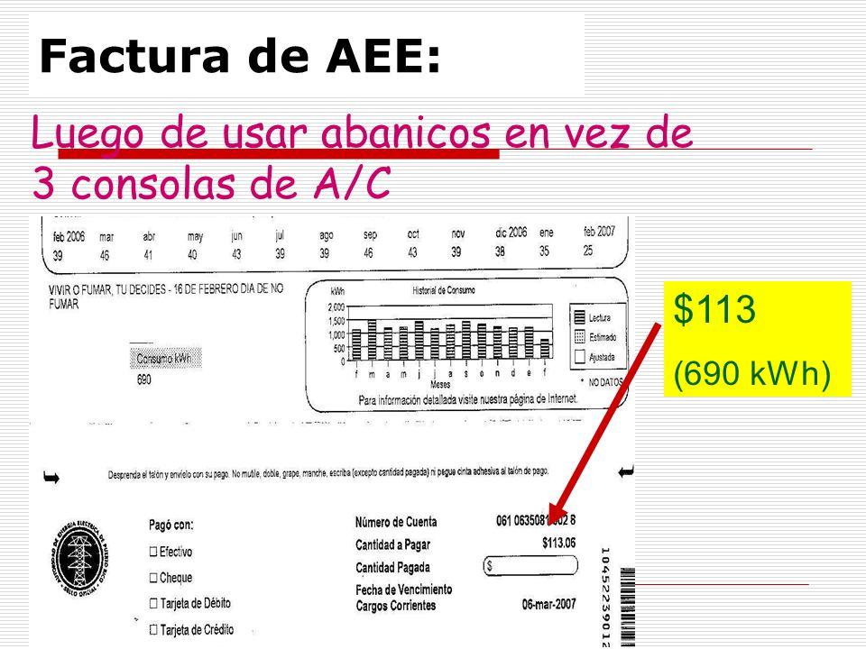 Factura de AEE: $113 (690 kWh) Luego de usar abanicos en vez de 3 consolas de A/C