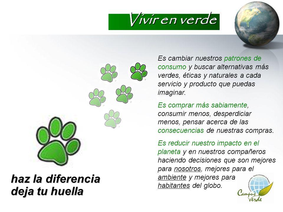 Vivir en verde haz la diferencia deja tu huella Es cambiar nuestros patrones de consumo y buscar alternativas más verdes, éticas y naturales a cada se