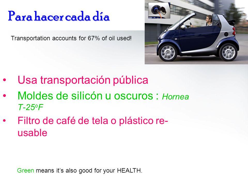 Para hacer cada día Usa transportación pública Moldes de silicón u oscuros : Hornea T-25 o F Filtro de café de tela o plástico re- usable Transportati