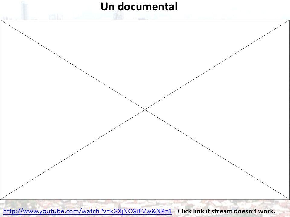 Un documental http://www.youtube.com/watch?v=kGXjNCGiEVw&NR=1Click link if stream doesnt work.