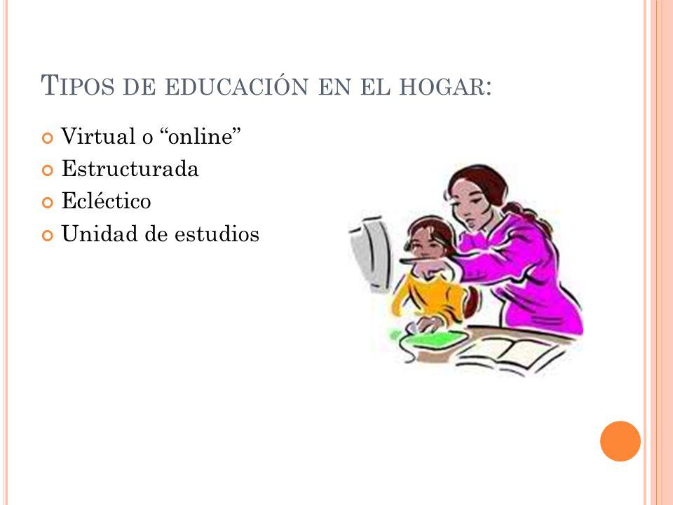 T IPOS DE EDUCACIÓN EN EL HOGAR : Virtual o online Estructurada Ecléctico Unidad de estudios