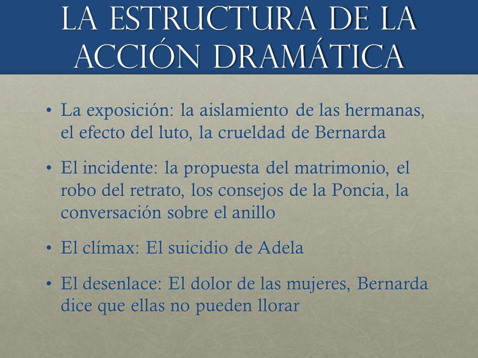 La estructura de la ACCIÓN dramÁtica La exposición: la aislamiento de las hermanas, el efecto del luto, la crueldad de BernardaLa exposición: la aisla