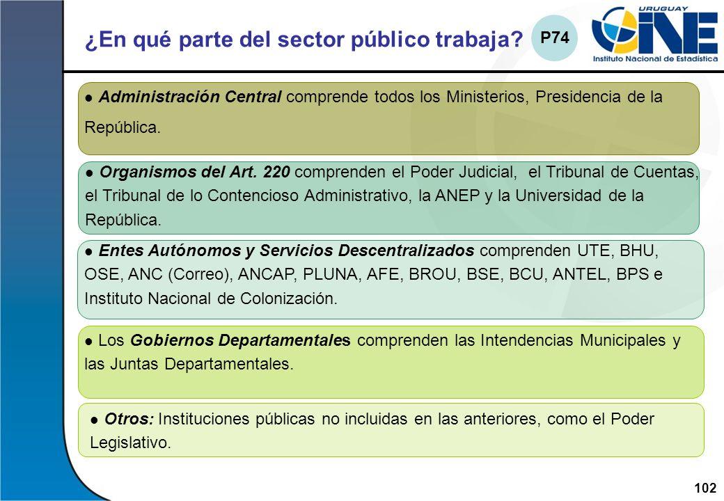 102Instituto Nacional de Estadística ¿En qué parte del sector público trabaja? Administración Central comprende todos los Ministerios, Presidencia de