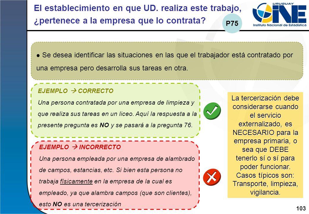 103Instituto Nacional de Estadística El establecimiento en que UD. realiza este trabajo, ¿pertenece a la empresa que lo contrata? Se desea identificar