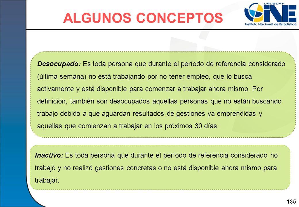 135Instituto Nacional de Estadística Desocupado: Es toda persona que durante el período de referencia considerado (última semana) no está trabajando p