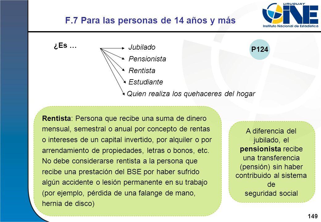 149Instituto Nacional de Estadística A diferencia del jubilado, el pensionista recibe una transferencia (pensión) sin haber contribuido al sistema de