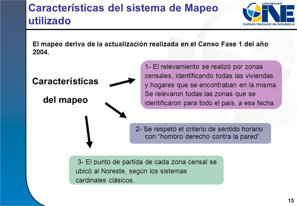 15 Características del sistema de Mapeo utilizado El mapeo deriva de la actualización realizada en el Censo Fase 1 del año 2004. 1- El relevamiento se