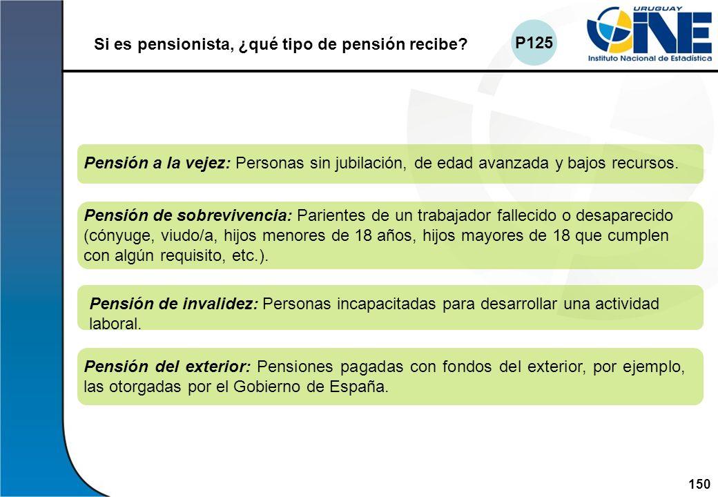 150Instituto Nacional de Estadística Si es pensionista, ¿qué tipo de pensión recibe? Pensión del exterior: Pensiones pagadas con fondos del exterior,