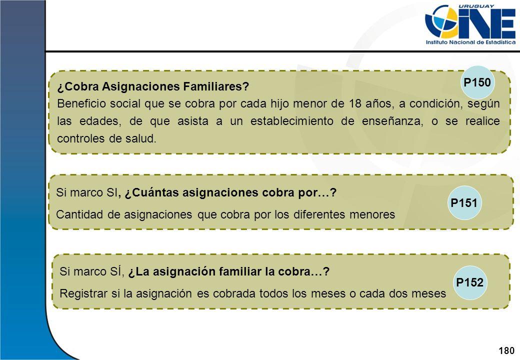 180Instituto Nacional de Estadística Si marco SÍ, ¿La asignación familiar la cobra…? Registrar si la asignación es cobrada todos los meses o cada dos