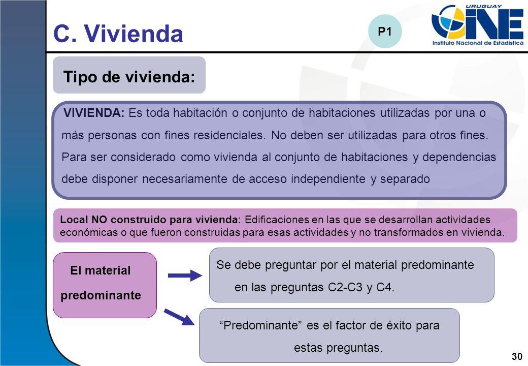 30 C. Vivienda VIVIENDA: Es toda habitación o conjunto de habitaciones utilizadas por una o más personas con fines residenciales. No deben ser utiliza