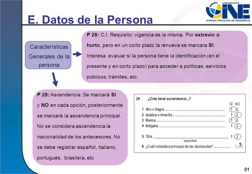 51 E. Datos de la Persona Características Generales de la persona P 28: C.I. Requisito: vigencia de la misma. Por extravío o hurto, pero en un corto p